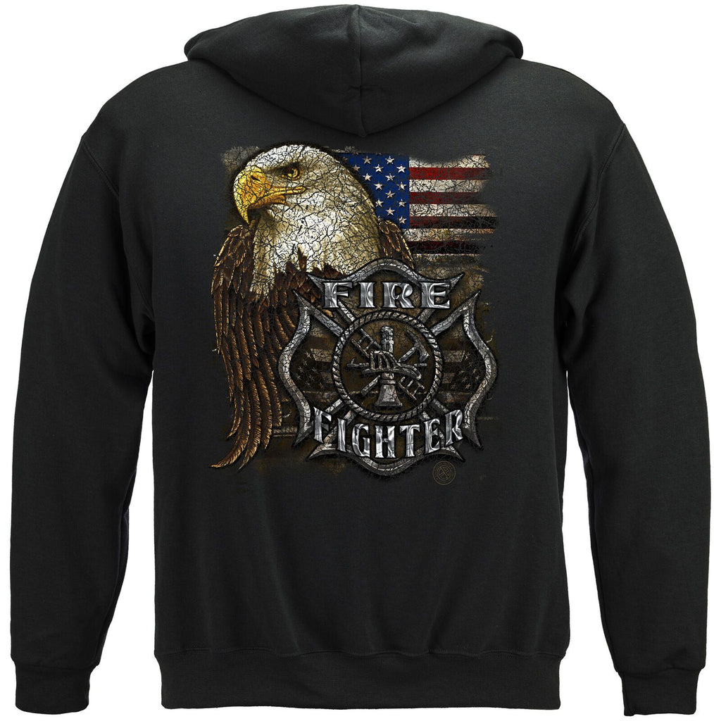 Firefighter US Eagle American Flag Patriotic Hoodie Sweatshirt Black