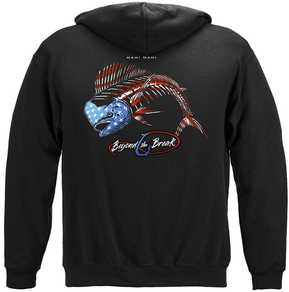 Fishing Patriotic Mahi Mahi Hoodie Sweatshirt Black