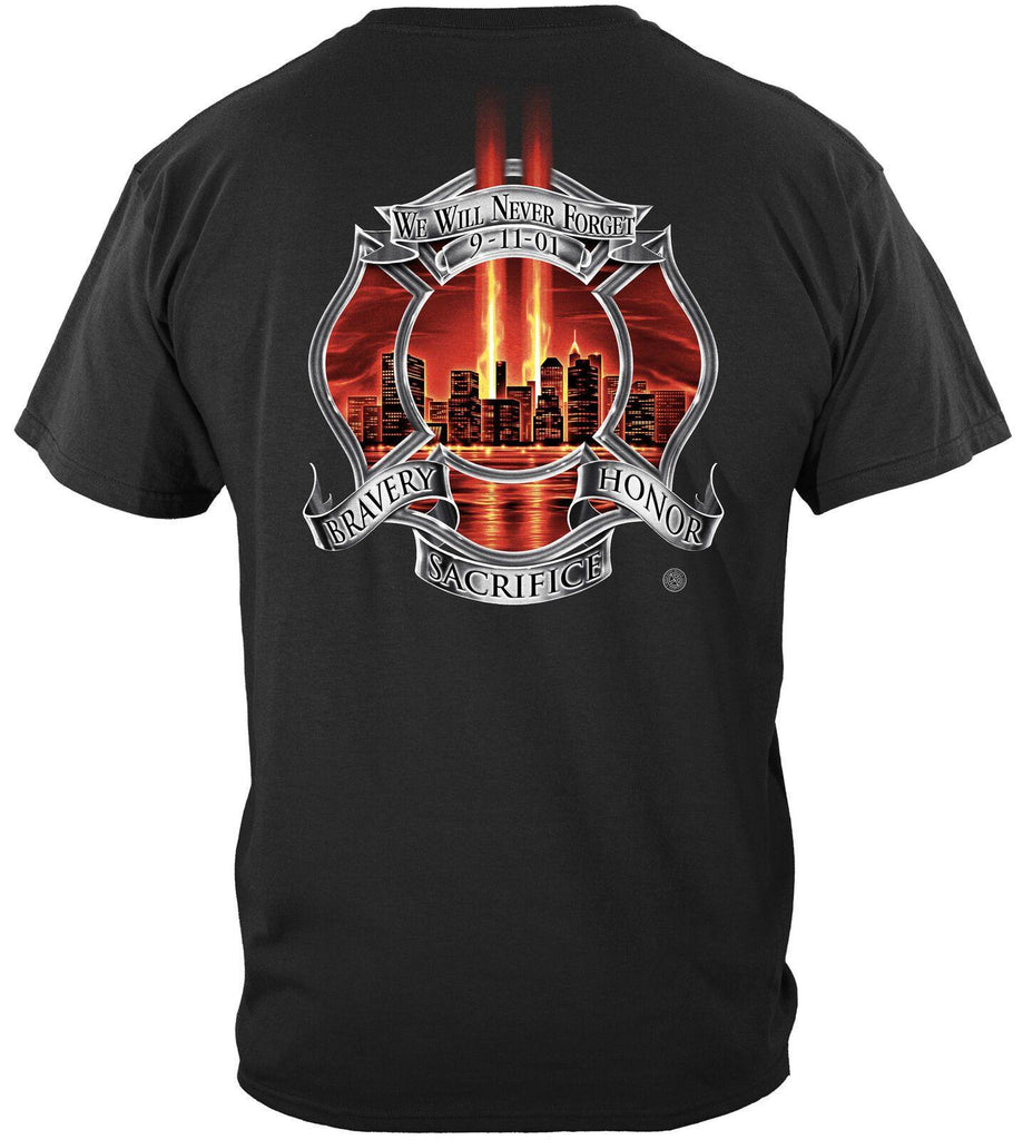 Red Tribute High Honor Firefighter Fire Fighter T-Shirt 100% Cotton Black