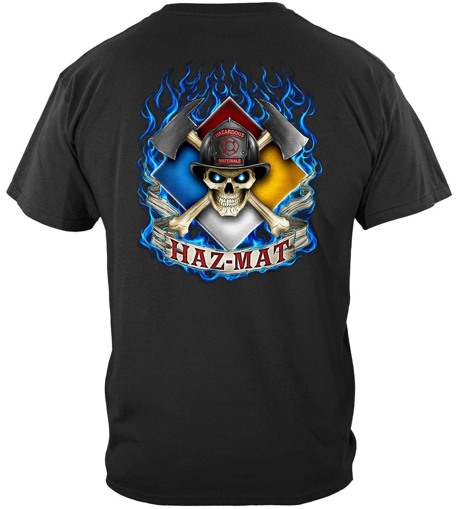 Haz-Mat Firefighter Fire Fighter Axe Skull T-Shirt 100% Cotton Black