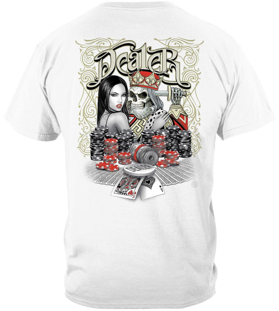 Chips King of Hearts Dealer T-Shirt 100% Cotton White