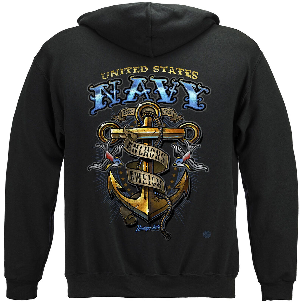 US Navy Vintage Tattoo Classic Anchor Mens Hoodie Sweatshirt Navy