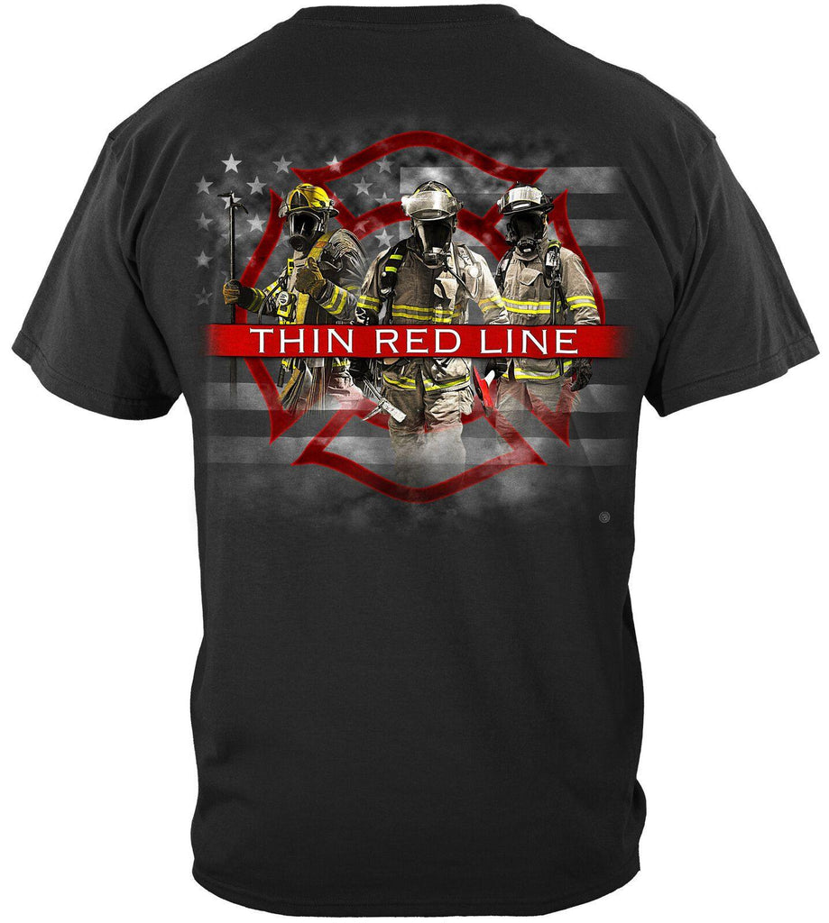 Firefighter American Flag Thin Red Line T-Shirt 100% Cotton Black