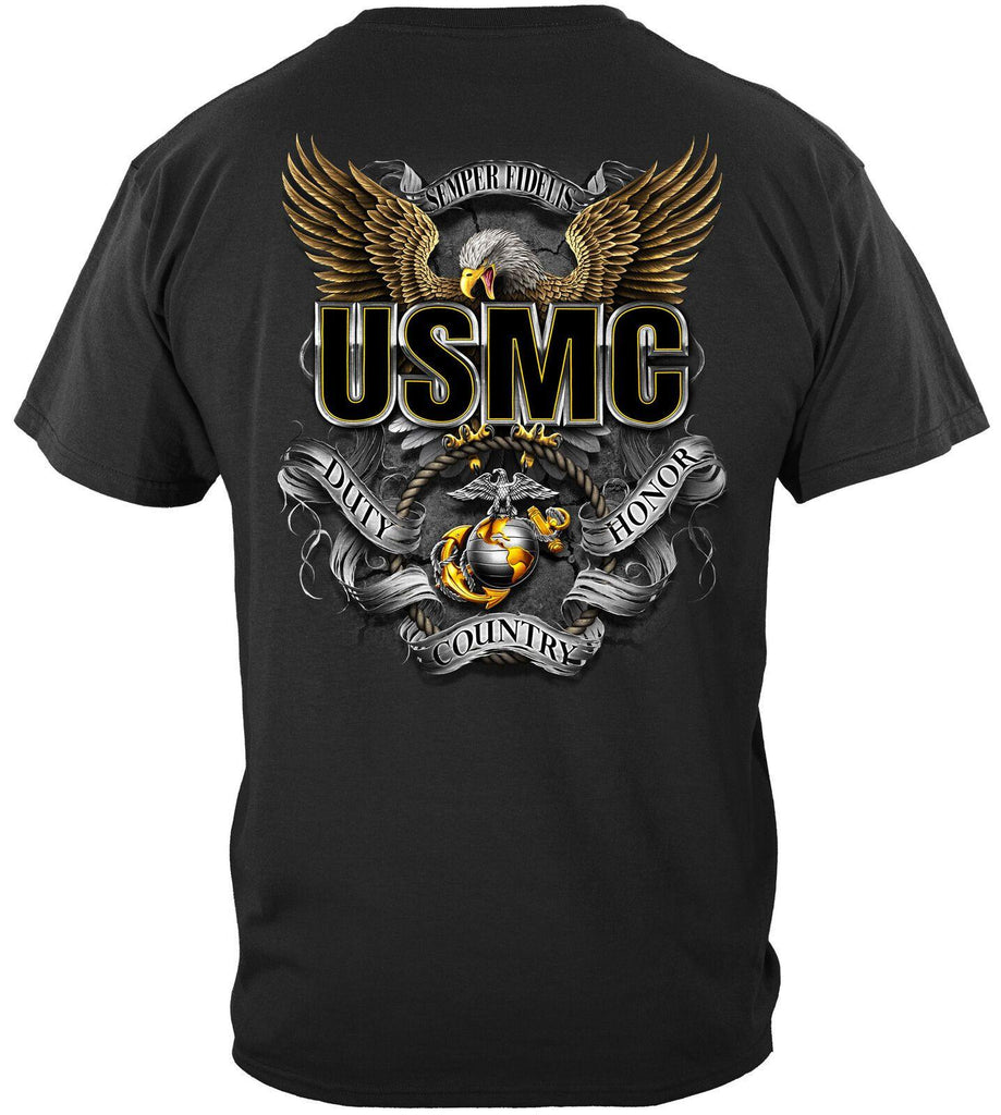 USMC Marine Corps Duty Honor Country Screaming Eagle T-Shirt 100% Cotton Black