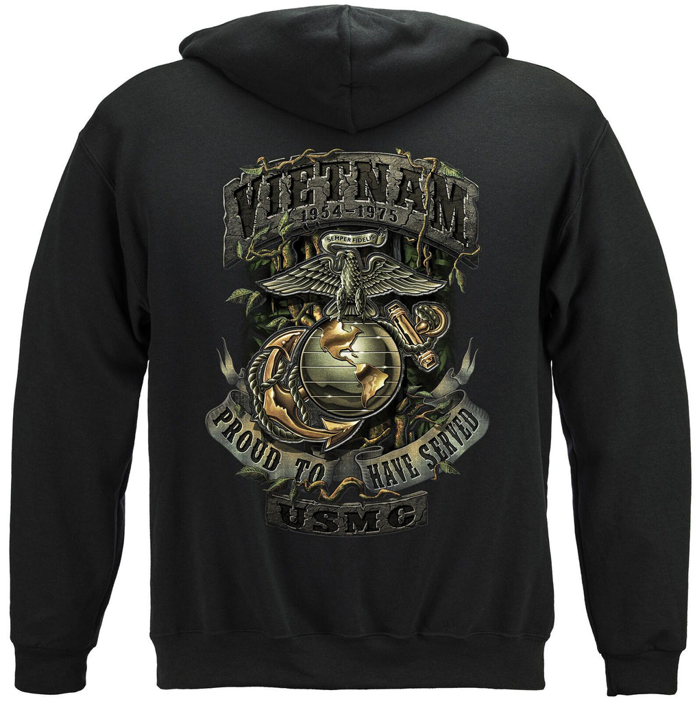 USMC Vietnam Green Jungle Theme Veteran Hoodie Sweatshirt Black