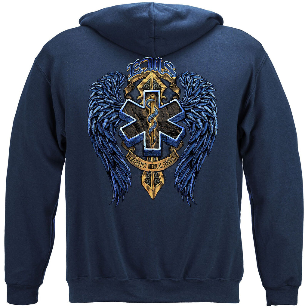 EMS Emergency Medical Service Biker Wings Hoodie Sweatshirt Navy