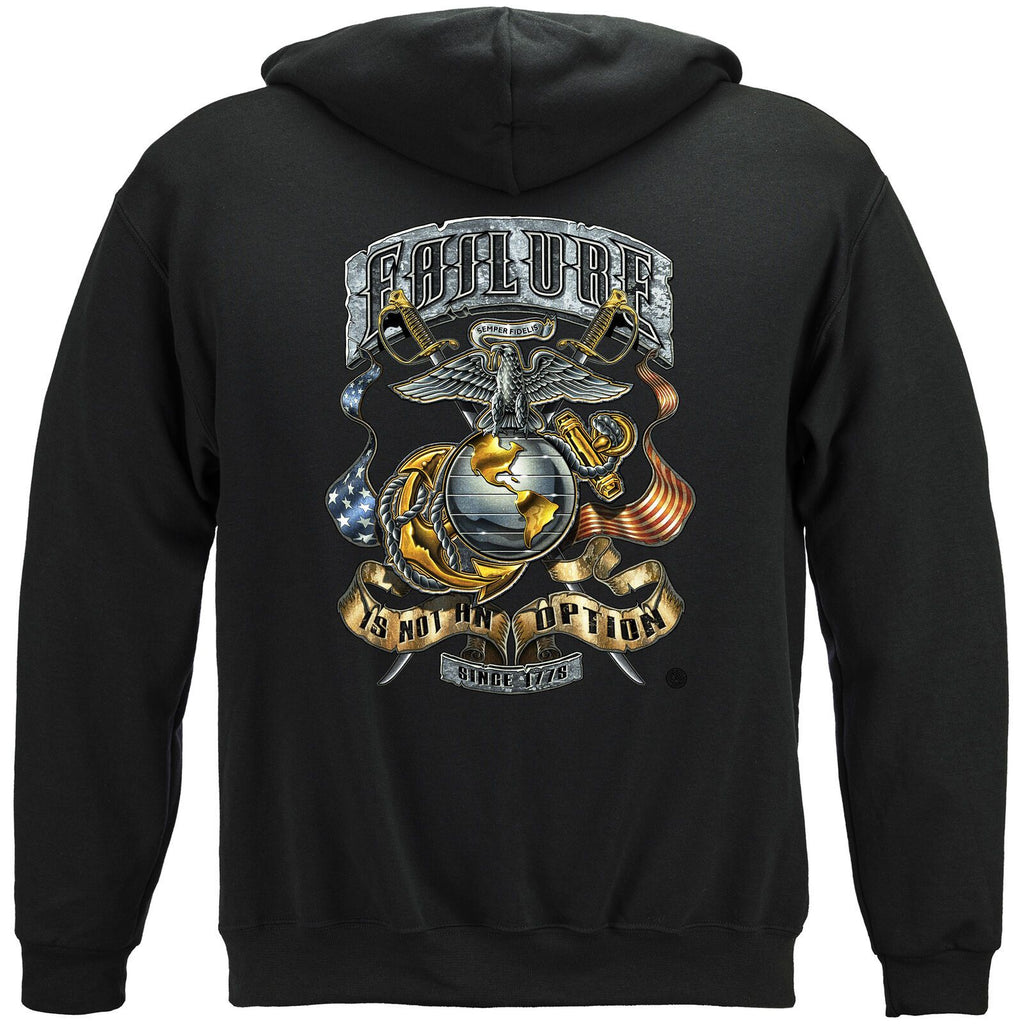 USMC Marines Failure Is Not An Option Hoodie Sweatshirt Black