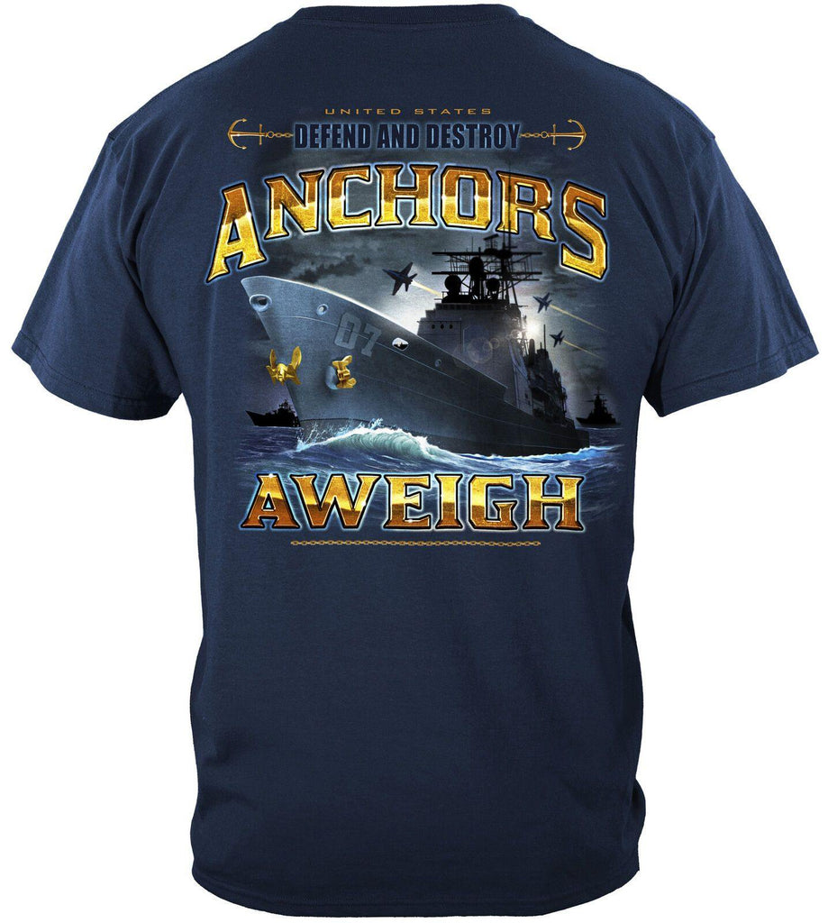 US Navy Anchors Aweigh Defend And Destroy T-Shirt 100% Cotton Navy