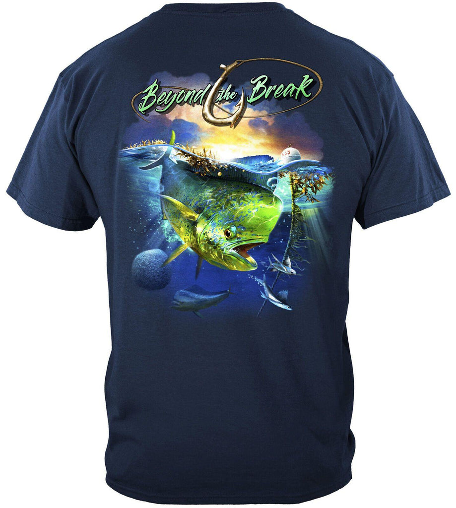 MAHI Dolphin Fish Beyond The Break Fishing T-Shirt 100% Cotton Navy