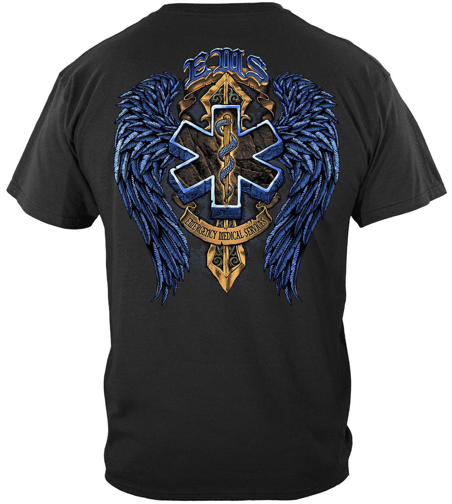 EMS Emergency Medical Services Biker Wings T-Shirt 100% Cotton Navy