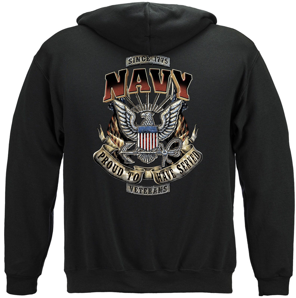 USN Navy Proud To Have Served US Flag Veteran Hoodie Sweatshirt Black
