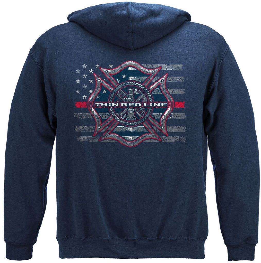 TRL Thin Red Line US Flag Firefighter Hoodie Sweatshirt Navy