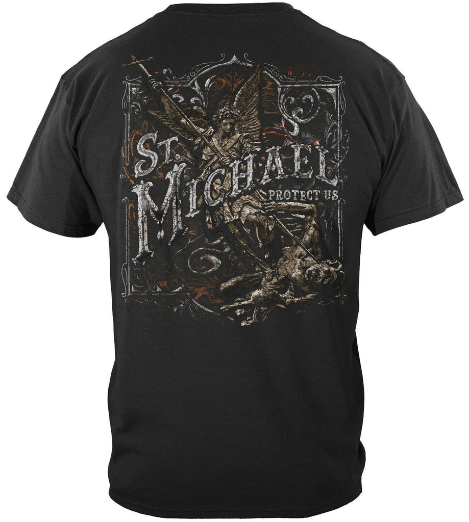 Firefighter St. Micheal Protect Us Silver Foil T-Shirt 100% Cotton Black
