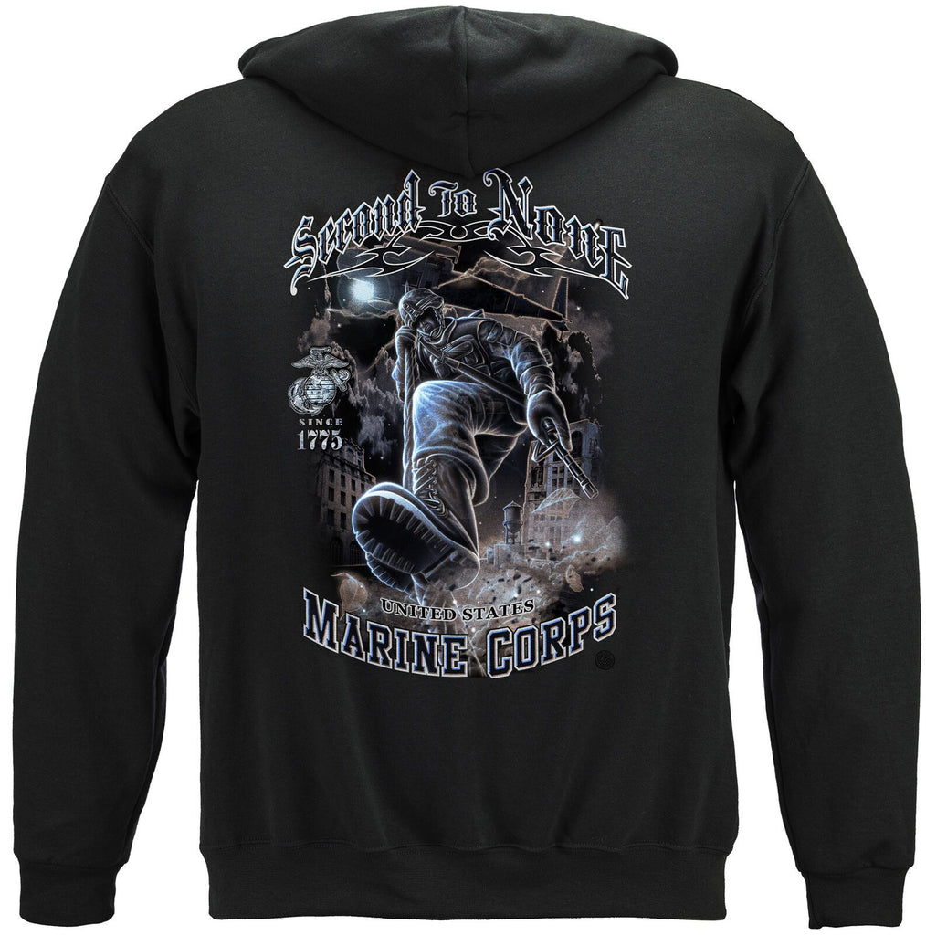 USMC Marine Corps Second To None Hoodie Sweatshirt Black