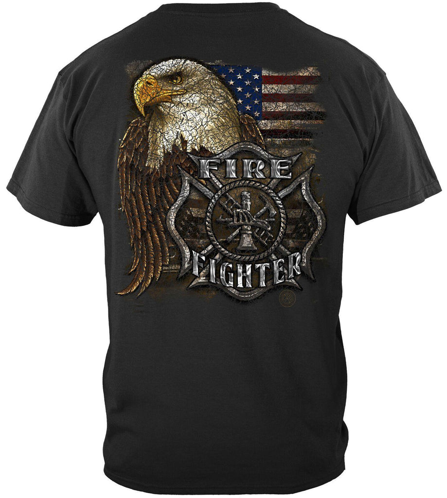 Firefighter Fire Fighter Eagle USA Flag T-Shirt 100% Cotton Black