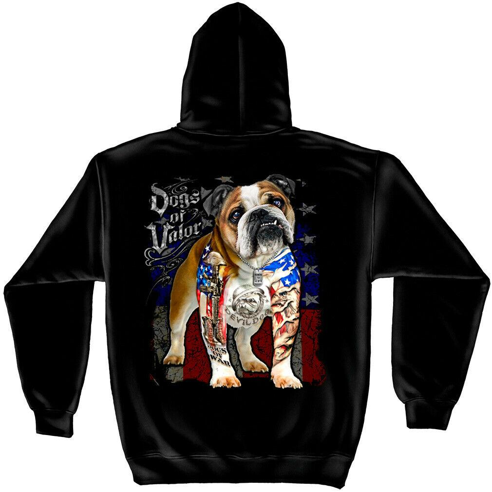 Dogs of Valor Bulldog US American Flag Patriotic Mens Hoodie Sweatshirt Black