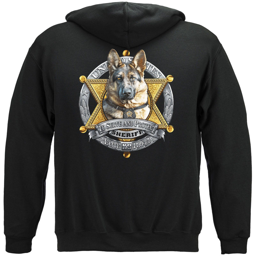 Elite Breed K9 Police Dog Sheriff Badge Hoodie Sweatshirt Black