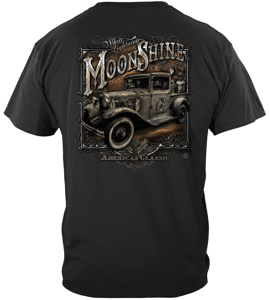 Moon Shine Truck Silver Foil American Classic T-Shirt 100% Cotton Black