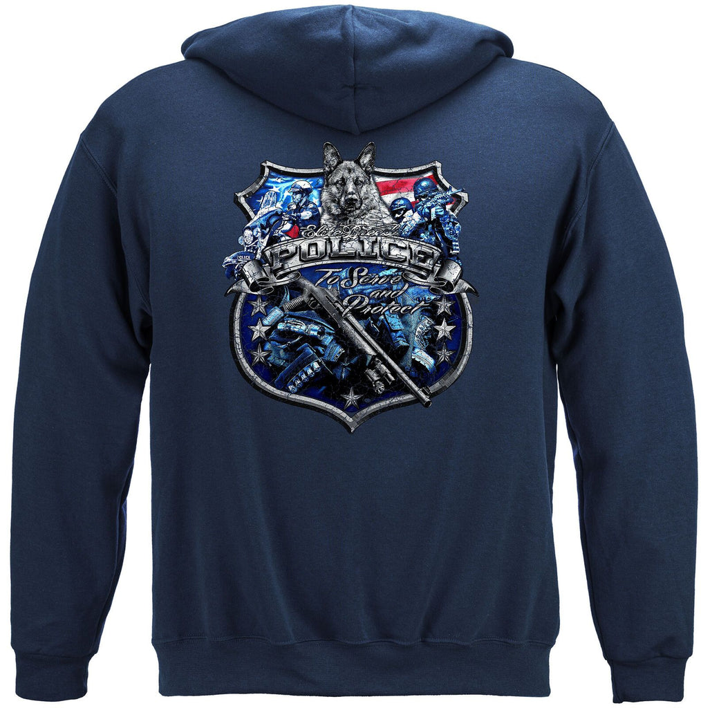 Elite Breed Police Force Serve and Protect Silver Foil Hoodie Sweatshirt Navy