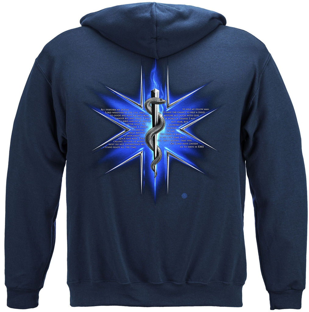 EMS Prayer Hoodie Patriotic Sweatshirt Navy