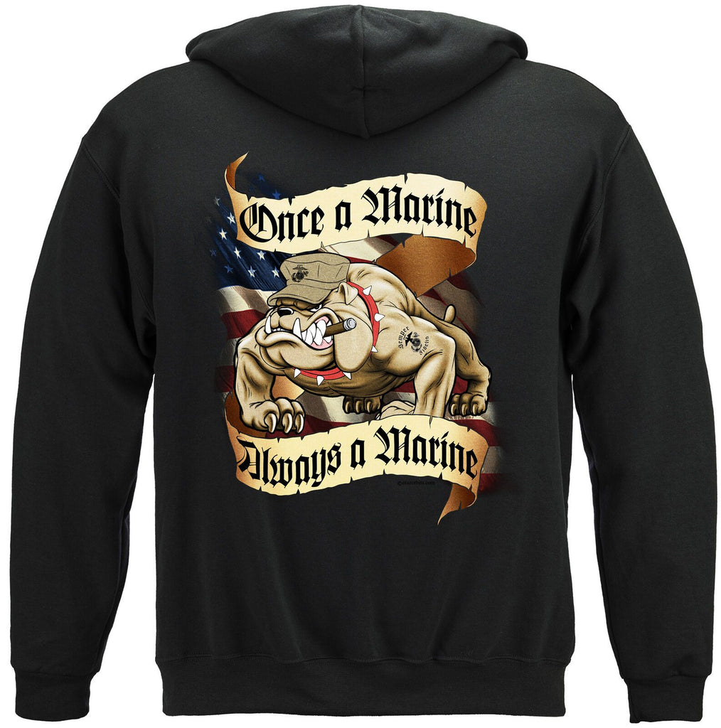 USMC Once A Marine Always A Marine Corps Bull Dog Hoodie Sweatshirt Black