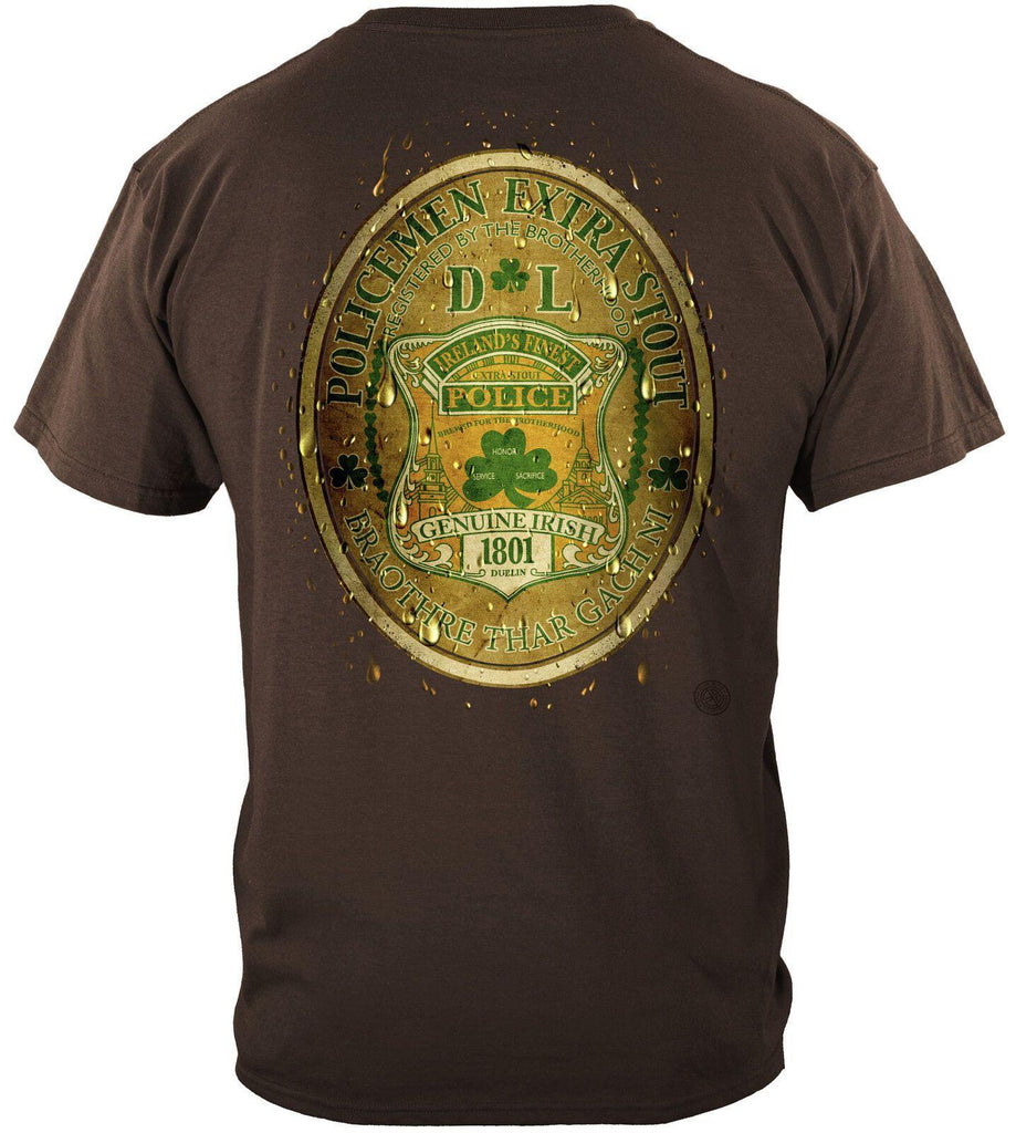 Police Policemen DL Bottled by Ireland's Finest Police T-Shirt 100% Cotton Brown