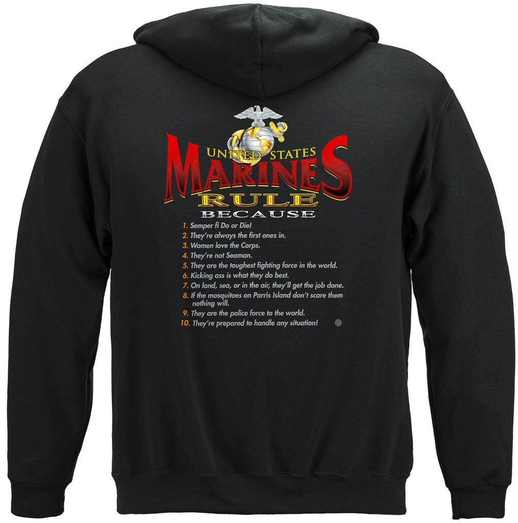USA Marines Rules USMC Eagle Globe Hoodie Sweatshirt Black