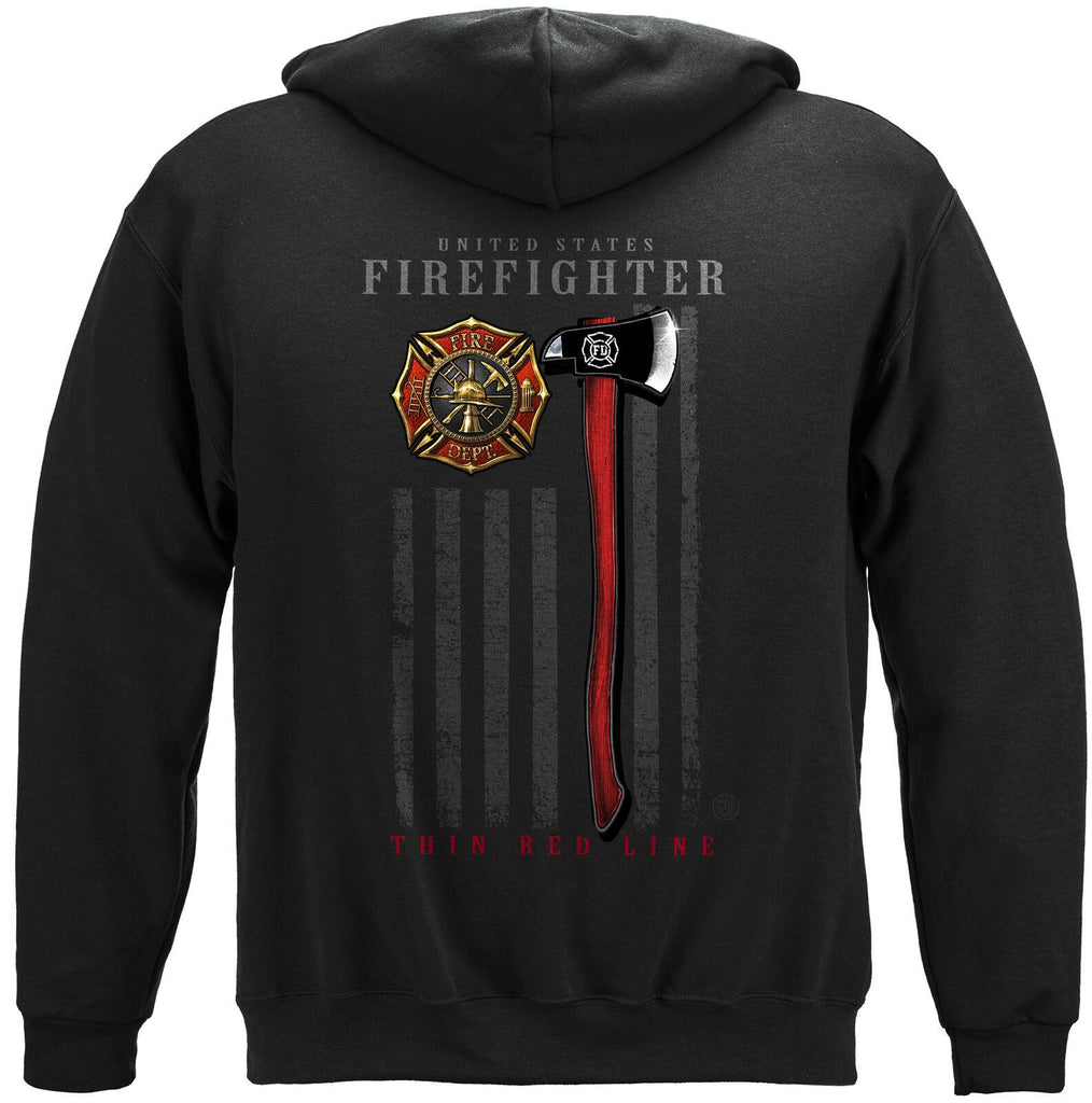 Firefighter Patriotic Flag Axe Thin Red Line Hoodie Sweatshirt Black