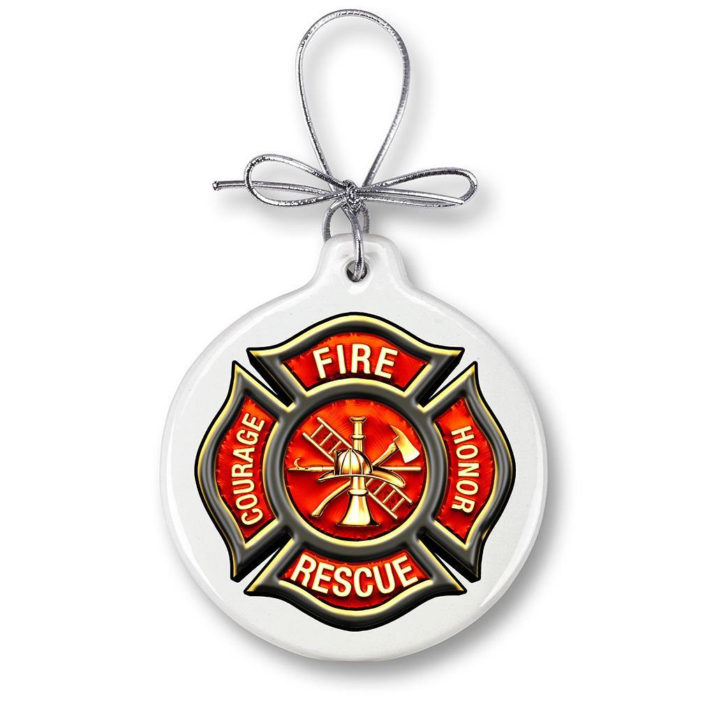 Firefigher Classic Fire Maltese Christmas Tree Ornaments