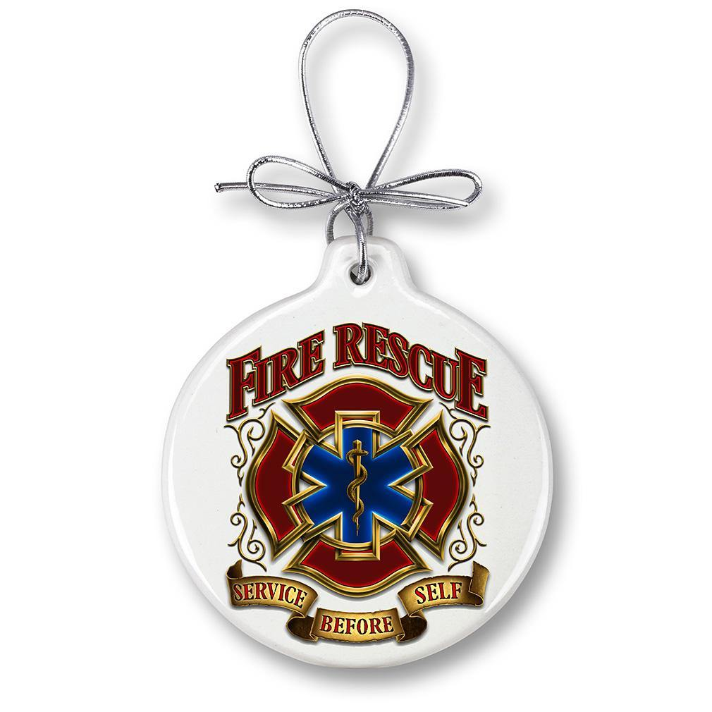 Fire Rescue Gold Shield Christmas Tree Ornaments