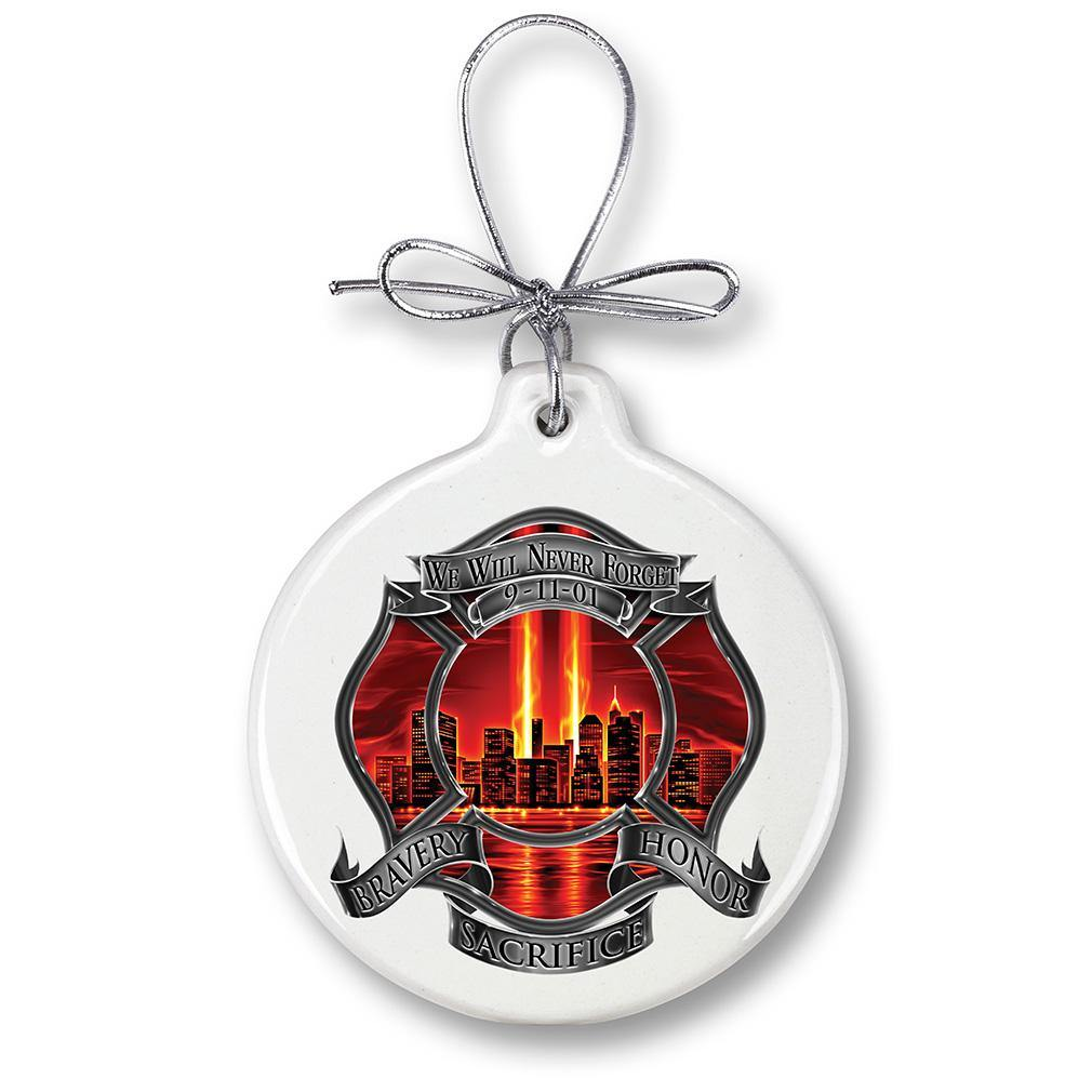 Red High Honor Firefighter Tribute Christmas Tree Ornaments