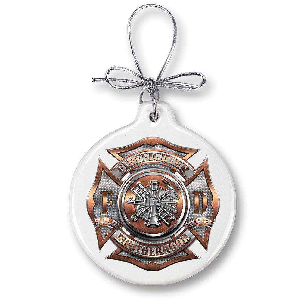 Firefighter Polished Brass Diamond Plate Christmas Tree Ornaments