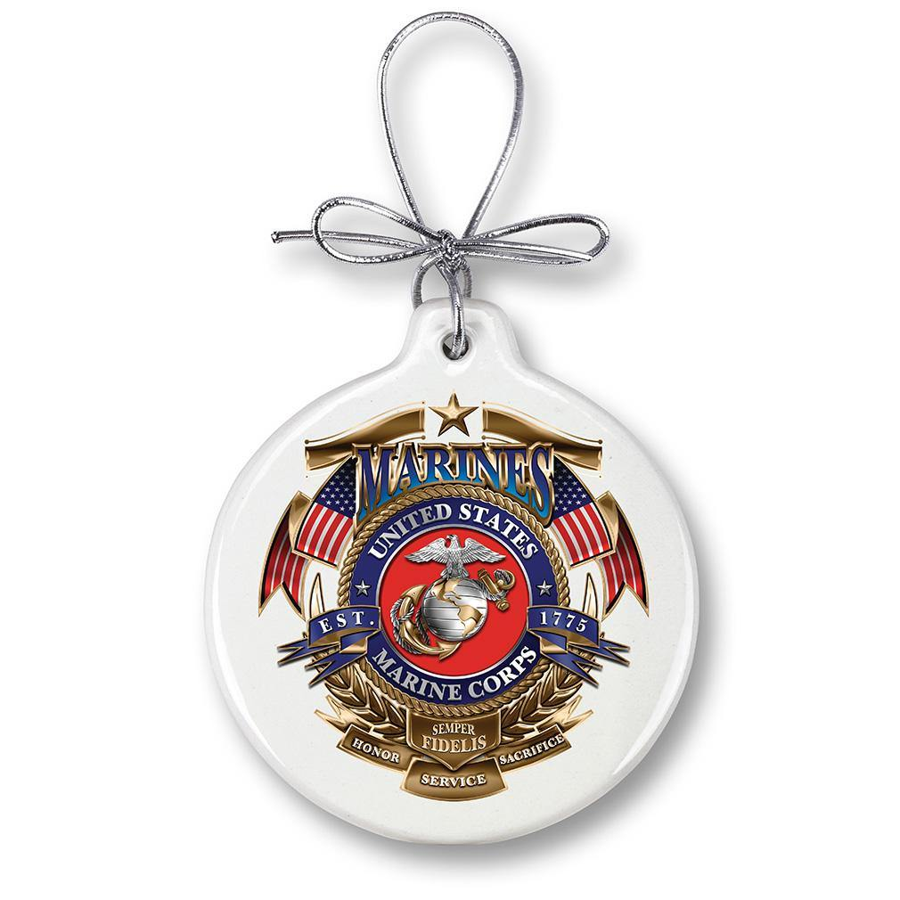 USMC Marine Corps Badge of Honor Christmas Tree Ornaments