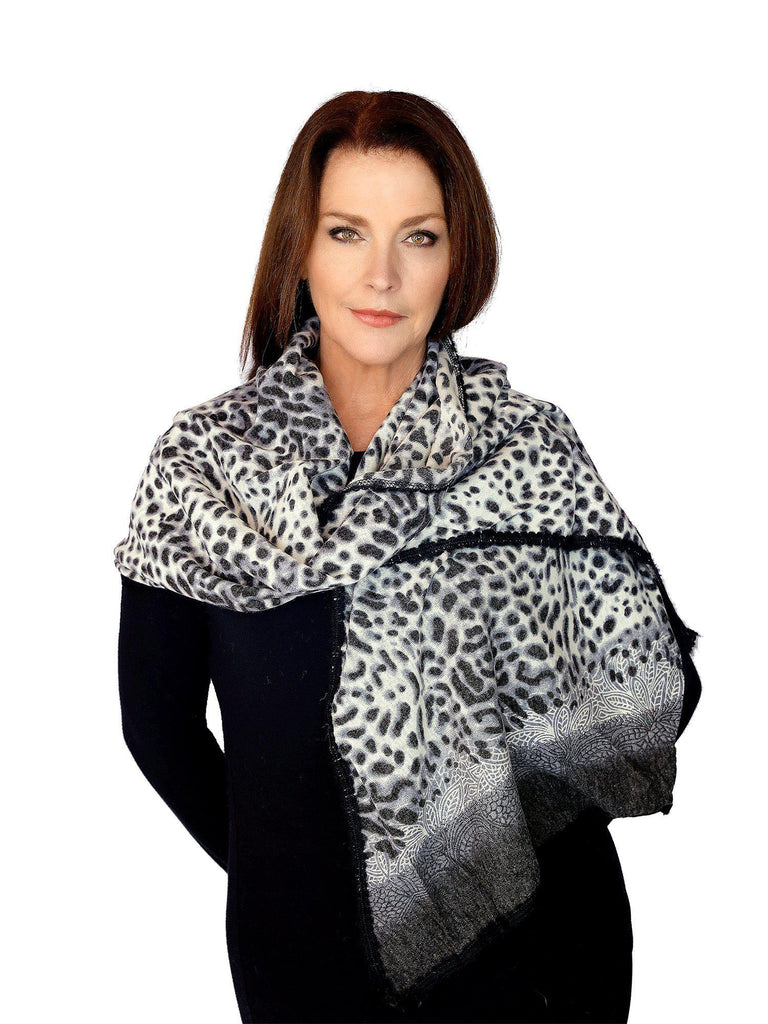 Casaba Womens Animal Leopard Skin Prints Sheer Scarves Scarf Shawls Light Wrap