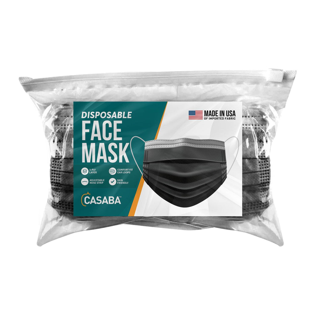 Casaba 50 Pack Black Disposable Face Masks 3-Ply Filter - Made in USA with Imported Fabric