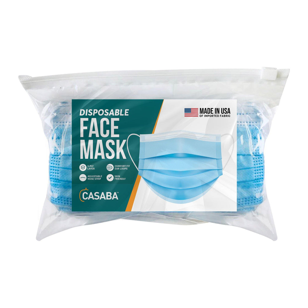 Casaba 100 Pack Blue Disposable Face Masks 3-Ply Filter - Made in USA with Imported Fabric