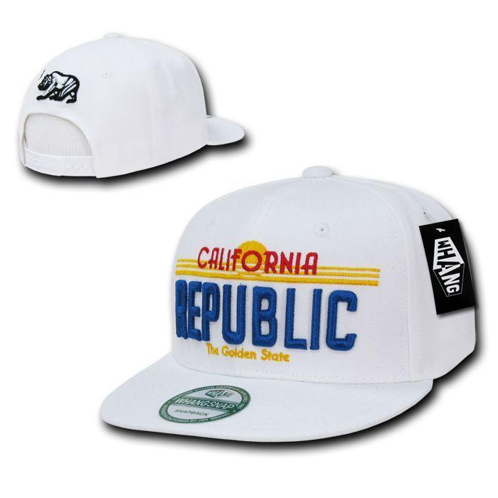 California Cali Republic Bear License Plate Flat Bill Snapback Hats Caps