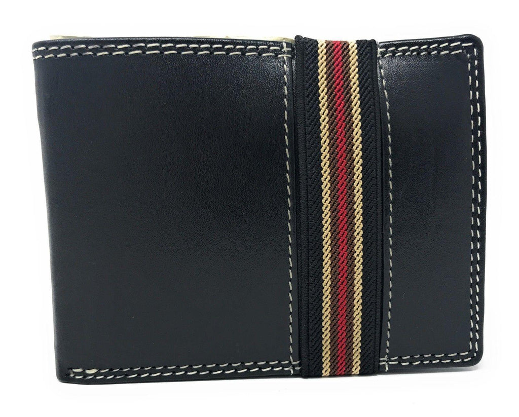 Casaba Genuine Leather Bifold Mens Womens Wallet with Security Band Two Cash Slots