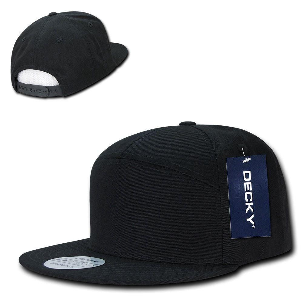Decky 7 Panel Cotton Snapbacks Flat Bill Baseball Hats Caps Unisex