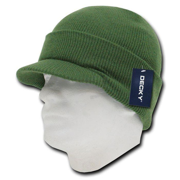 Olive Green College Style Campus Jeep Visor Beanie Winter Knit Ski Cap Caps Hat
