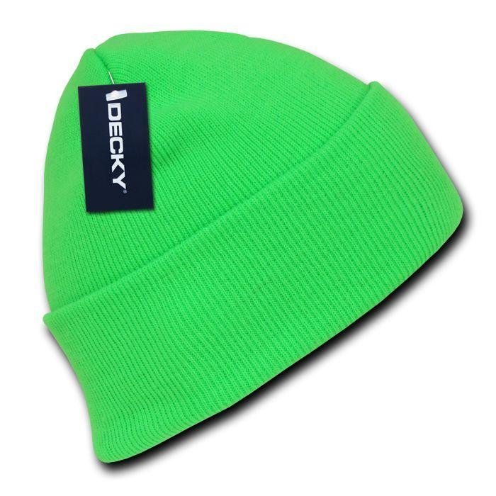 Decky Bright Neon Long Cuffed Beanies Knit Ski Skull Caps Hats Snowboard Winter