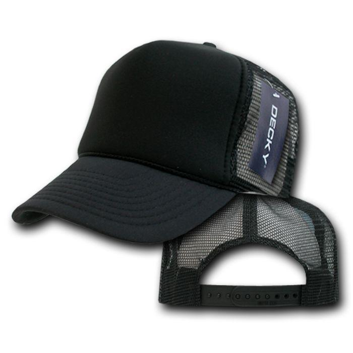 Decky Classic Trucker Hats Caps Foam Mesh Two Tone Blank Plain Solid Snapback