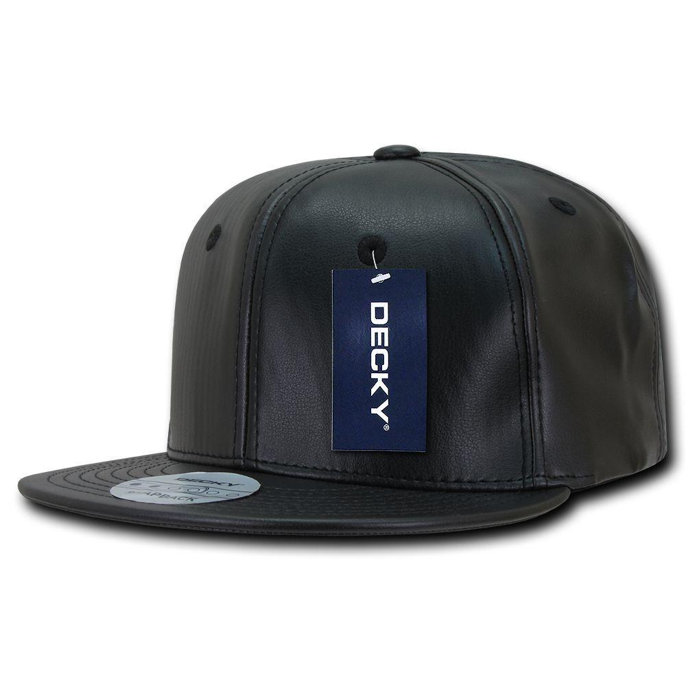 Decky Faux Leather Snapbacks Retro Flat Bill Baseball Hats Caps Unisex