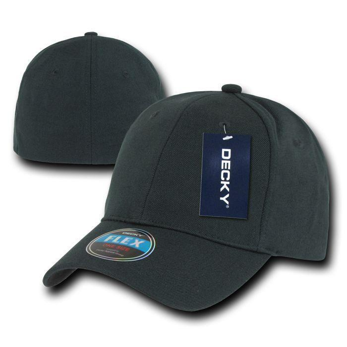 b8b89acd6a7 Decky Flex Elastic Fitted 6 Panels One Size High Crown Baseball Hats Caps  Unisex