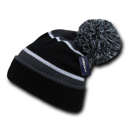 Decky Giant Pom Beanies Uncuffed Fuzzy Ball On The Top Warm Caps Hats Ski Winter