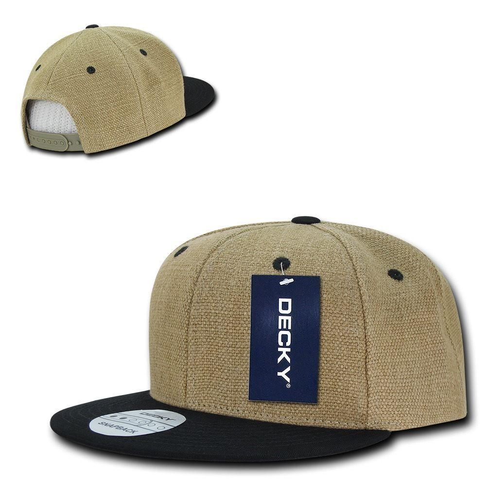 Decky Heavy Duty Jute Snapbacks Flat Bill Baseball Hats Caps Unisex