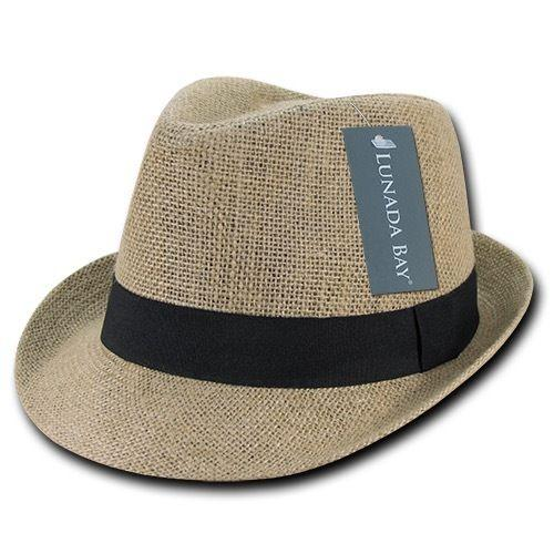 Decky Jute Lightweight Fedoras Trilby Panama Hats Caps Natural Black