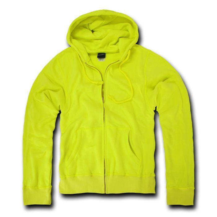 Decky Neon Yellow Full Zip Up Hoodie Hooded Sweatshirt Unisex
