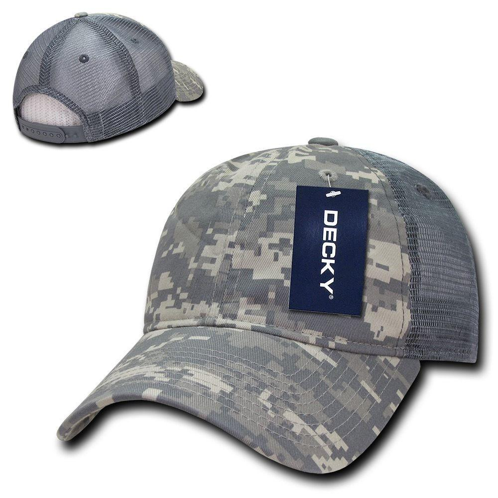Decky Relaxed Camo 6 Panel Pre Curved Bill Trucker Baseball Caps Hats