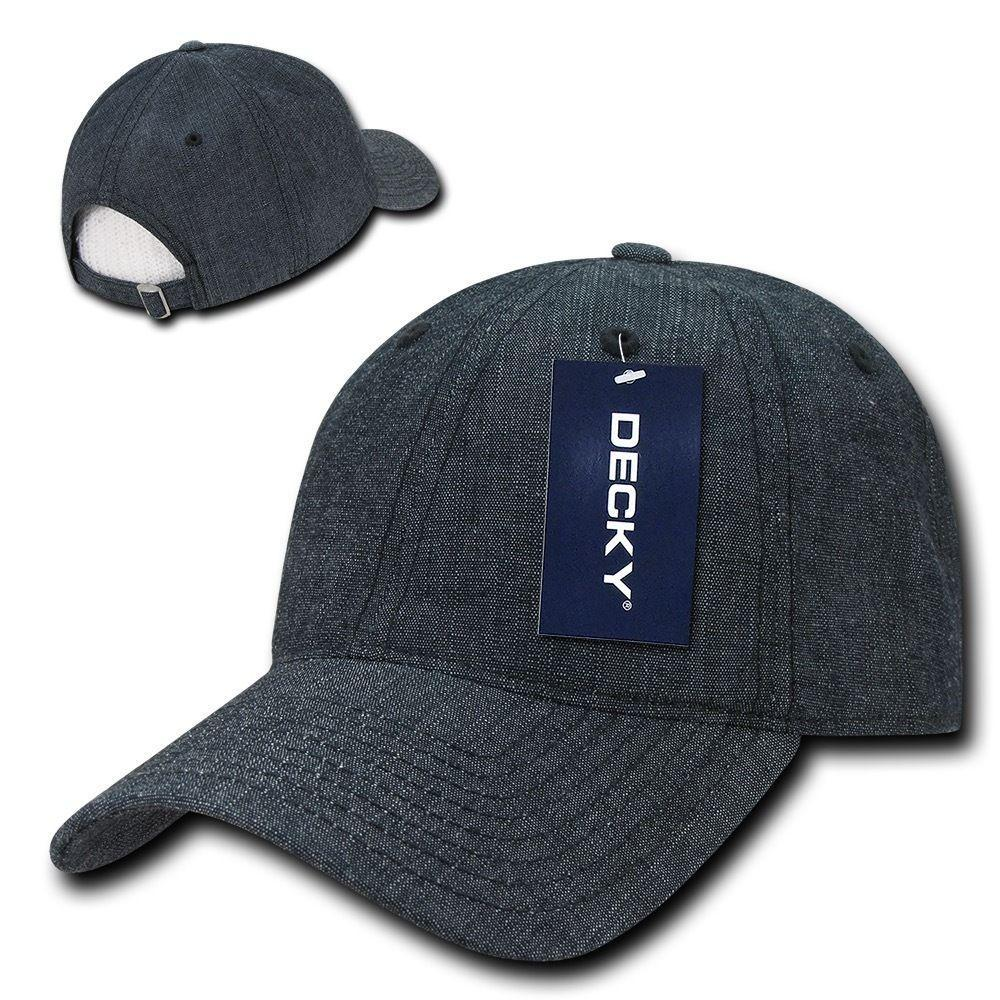 Decky Relaxed Washed Denim Low Crown Curved Bill Dad Hats Caps